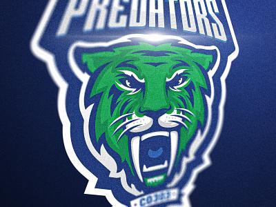 Confed Predators cat branding illustration design blue vector mark hockey logo mascot tiger sabertooth
