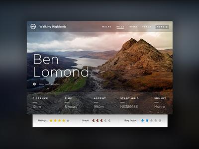 Walking Highlands Ben Lomond munro ben lomond mountain scotland user interface digital design design ux ui hillwalking walking highlands