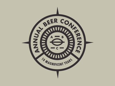 Annual Beer Conference badge / roundel futura modern thick lines graphic design design beer grain nautical compass logo badge roundel