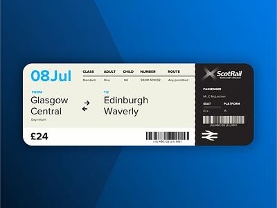 Scotrail / National Rail train ticket rework glasgow scotland train ticket scotrail pass rail national boarding pass boarding