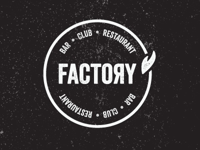 Factory logo factory industrial bar restaurant rough texture circle glasgow club