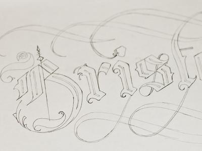 Bristol Calligraphy Lettering Sketch calligraphy blackletter lettering type typography sketch pencil handrendered bristol city wip apple