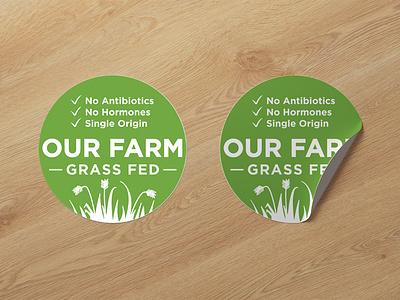 AME Our Farm Branding Design - Pack Sticker brand grass fed packaging sticker design logo branding