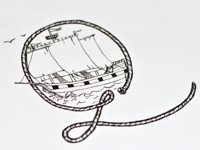 Nautical themed 'Q' drop cap sketch drop cap dropcap initial q nautical rope ship waves sketch