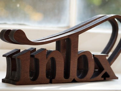 Inbox abbreviated object - letter rack 3d laser-cut mdf wood stain lettering ligatures type object environment letters design house