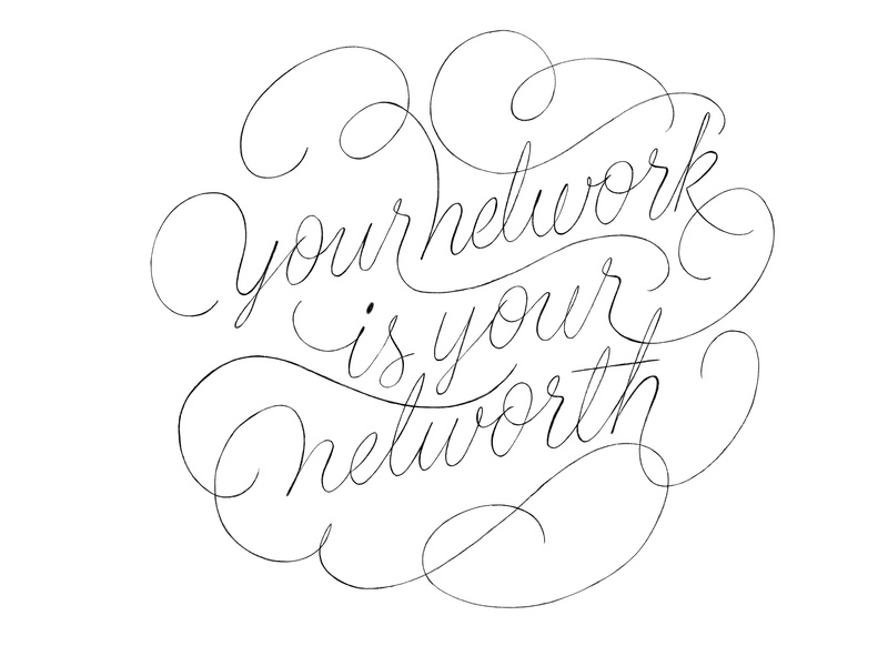 Your Network Is Your Networth Sketch calligraphy letters networking typography type wip cartouche lettering script lettering script cartouche lettering