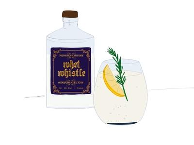 Gin Illustration play play experimentation drink packaging alcohol brushes procreate gin sketch vintage design illustration lettering