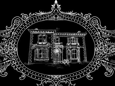Ornate Scroll and house illustration ornate custom scroll illustration engraving woodcut retro frame handrendered house etching website footer vintage detailed pencil sketch filigree bristol
