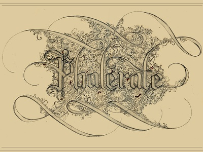 Dead Words: Phalerate lettering type typography handrendered custom calligraphy blackletter dead words submission ornate decorate detail intricate vintage old pencil pen