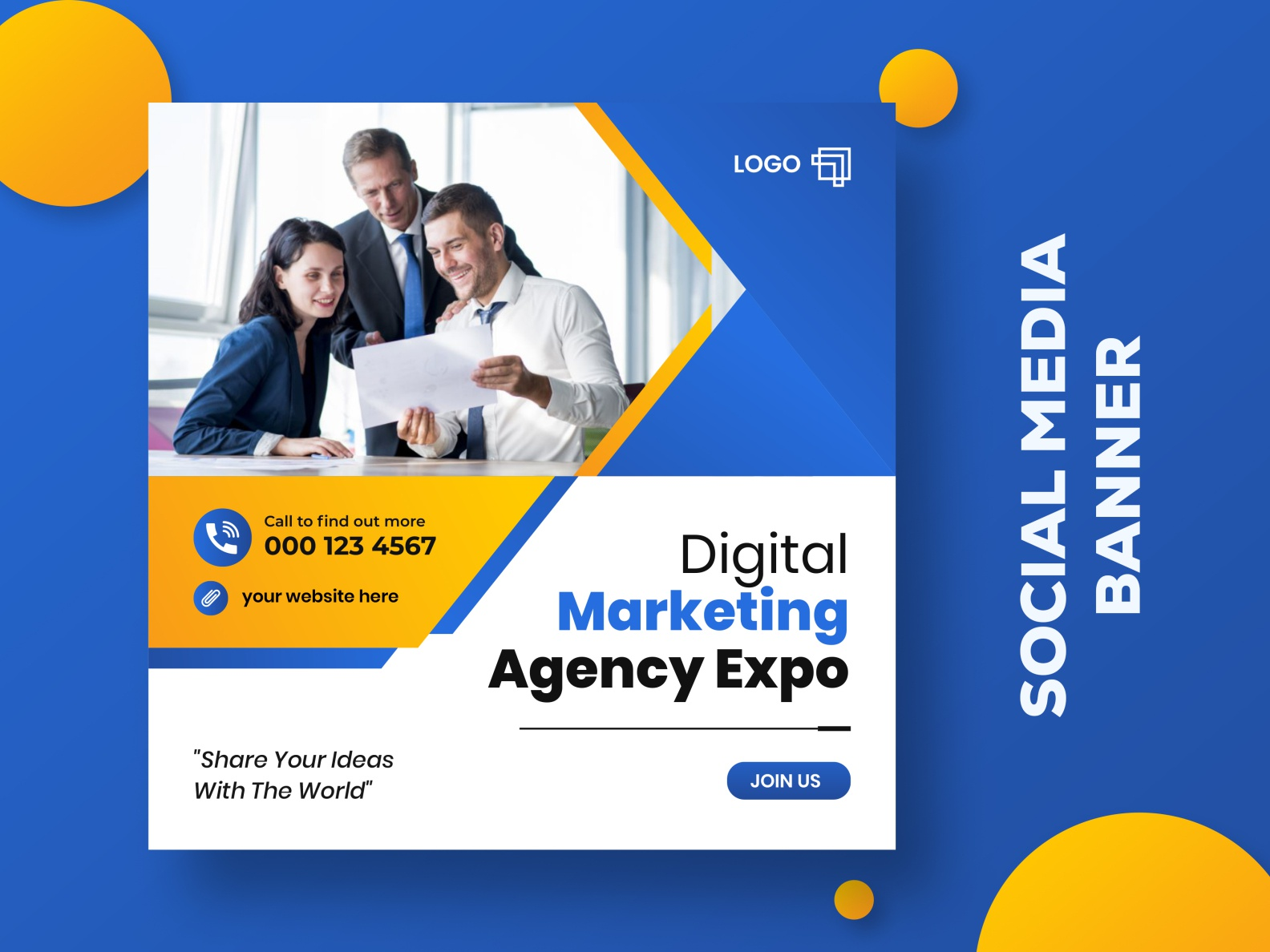 Digital marketing agency Social media banner ads template by Shuvojit  Sarker on Dribbble