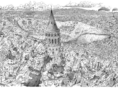 Dystopic Istanbul Panorama surrealism surreal artline pencil bosphorus dystopia whale artwork illustration art galata istanbul drawing illustration