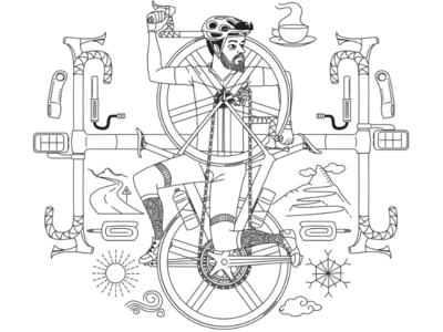 road cyclist brand illustration.