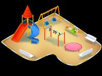 digital isometric child park illustration