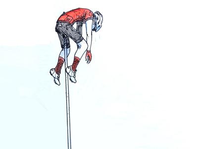 Impossible bike watercolor illustration