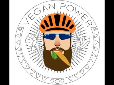 Vegan Power Cyclist Vectoral Brand Illustration
