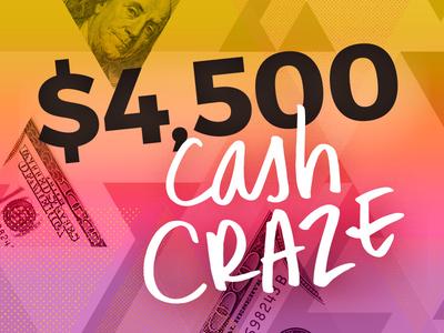 Cash Craze triangles collage handwritten type hand-drawn gradient dot halftone money cash