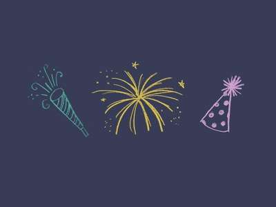 Party! hand drawn pencil noise maker sketch fireworks hat party birthday