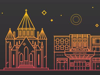 Town at Night simple stars gradient church theatre vector buildings night monoline