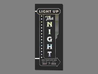 NYE Invite retro night light sign holographic foil invitation