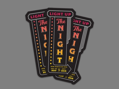 NYE Stickers sign gradient night light stickers new years eve