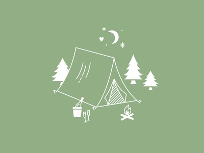 Happy Campers trees champagne simple monoline illustration night moon tent camping wedding
