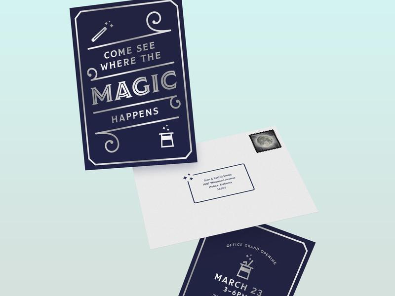 Magic Invite gravity rabbit clean inline typography invite design invite silver foil wand hat magic
