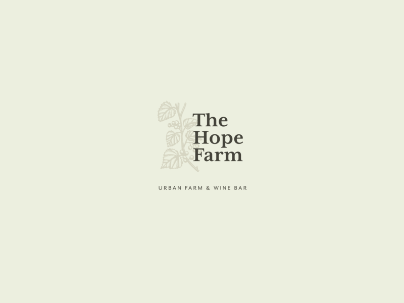 The Hope Farm wine urban farm engraving vine muscadine illustration type logo
