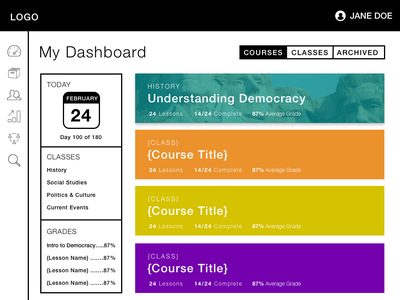 Dash 2 learning e-learning education design web site ui wireframes