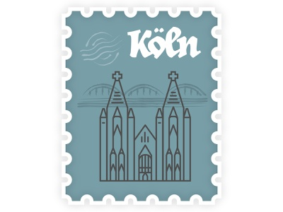 Koln Stamp travel illustartion stamp germany koln