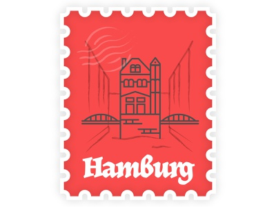 Hamburg Stamp travel agency stamp illutsration travel germany hamburg