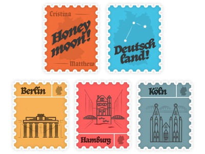Honey Moon Stamps koln hamburg berlin summer travel stamps deutschland germany europe