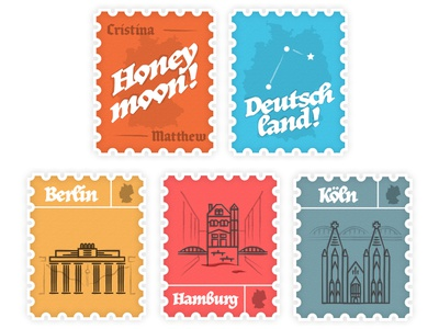 Germany Stamps mail stamps europe travel stamp illustration honeymoon hamburg koln berlin deutschland germany