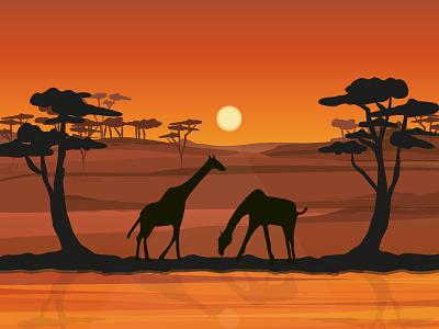 Africa africa landscape illustration