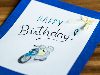 Happy Birthday motorcycle greeting card birthday card lettering