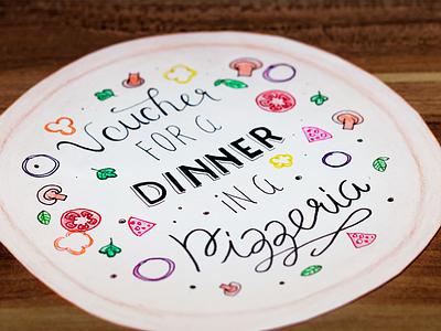 Voucher for a dinner hand lettering gift idea present birthday round pizzeria pizza lettering voucher