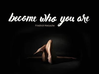 become who you are vectorization quote light hand lettering dark brush pen friedrich nietzsche