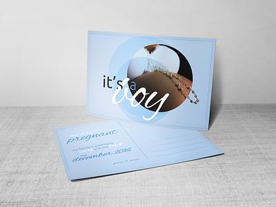 it's a boy blue typography boy postcard announcement pregnancy