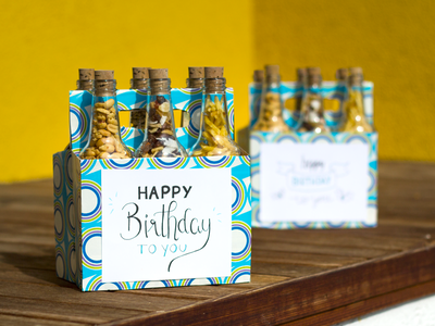 Happy Birthday! peanuts trail mix nuts beer bottle lettering birthday diy present