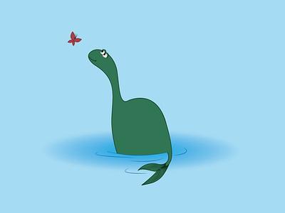 Plesiosauria minimal vector illustration design