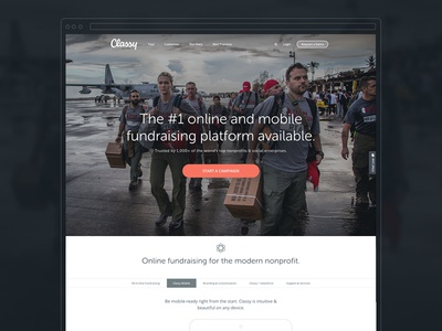 Classy Homepage classy nonprofit homepage landing page