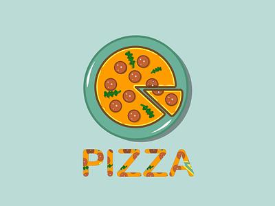 PIZZA restaurant pizza logo food design vector illustration