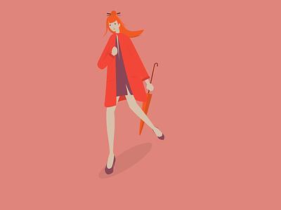 Autumn-girl pink umbrella autumn girl vector illustration