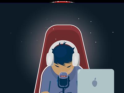 Videoblogger onair internet online broadcast video videoblog blogging vector illustration