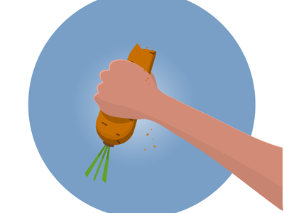 Carrot in a hand carrot healthy food healthy meal healthy lifestyle food design vector illustration