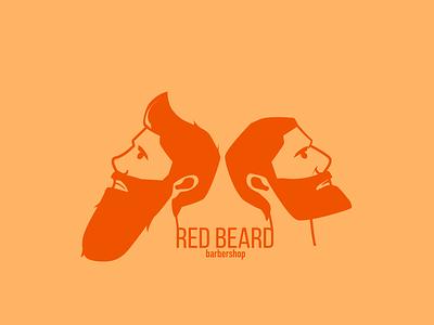 Two heads barbershop men red beard barber design vector illustration