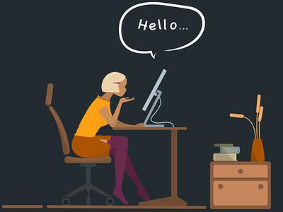 Remote education teacher online lesson remote education education vector design illustration