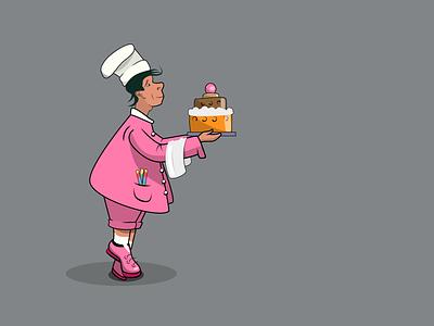 The Chif celebration cake chif branding restaurant vector design illustration
