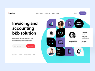 Invoicer: Product page web site web design b2b customer service product page landing page landing website site web dashboard e-finance financial services product design budget finance fintech accounting invoicing