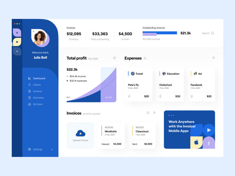 Invoicer: Dashboard application b2b customer service revenue overdue expenses website site invoice web app app design dashboard e-finance financial services product design budget finance fintech accounting invoicing