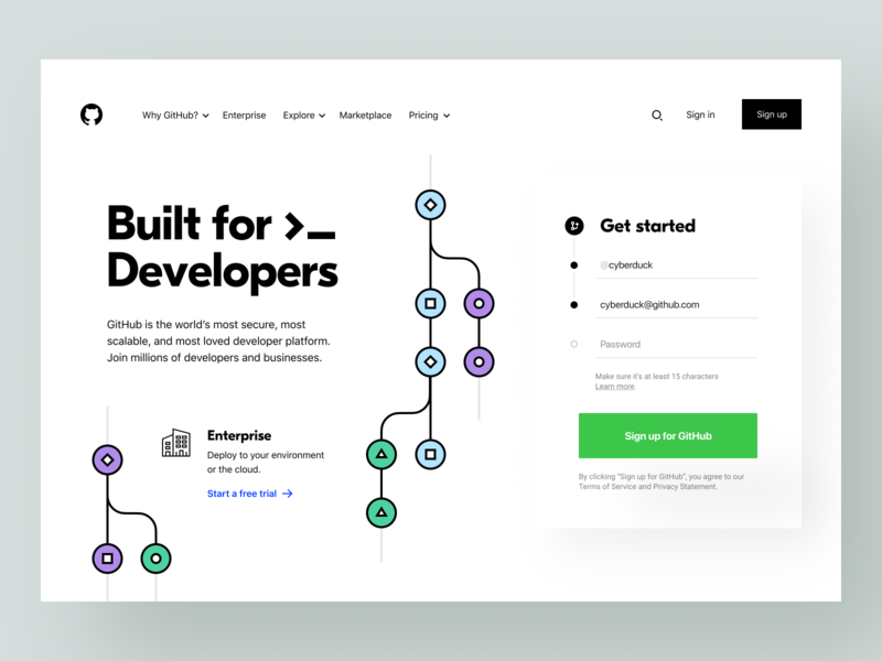 GitHub: Homepage collaboration developer tools cloud computing product page landing page landing website site web web app platform sign up form enterprise product design developer dev branch git github
